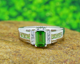 Natural Chrome Diopside & Peridot  925 Sterling Silver Ring SSR0505