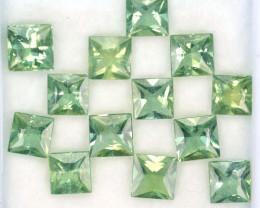 10.52 Cts Natural Apatite Beautiful Green Square Cut 13 Pcs Brazil