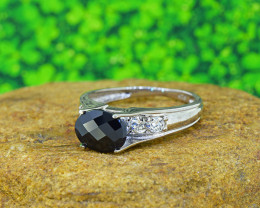 Natural Black Sapphire 925 Sterling Silver Ring (SSR0501)