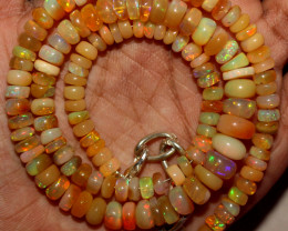 87 Crts Natural Ethiopian Welo Fire Opal Beads Necklace 3107