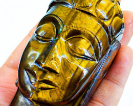 Genuine 1770.00 Cts Tiger Eye Buddha Head