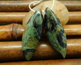 Oean kambaba carved leaf gemstone pairs (G0188)