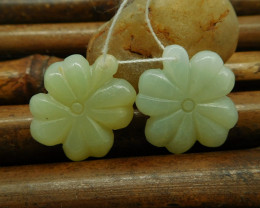 Carved amazonite four leaf clover earring pendant jewelry (G0189)