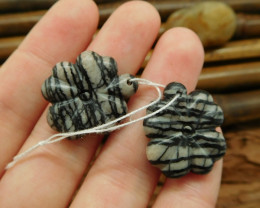 Natural gemstone carving picasso jasper four leaf clover bead (G0191)