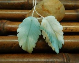 Carving leaf earring pairs amazonite custom jewelry (G0193)