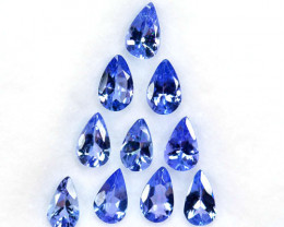 1.53 Cts Natural Purplish Blue Tanzanite Pear 10 Pcs Tanzania