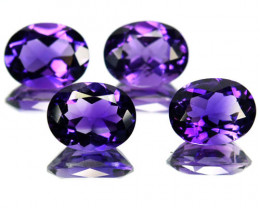 Natural Purple Amethyst 9x7 mm Oval Cut 4 Pcs Brazil 6.72 Cts