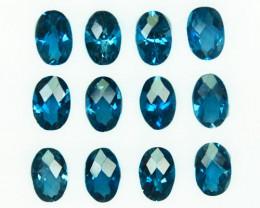 Natural London Blue Topaz 6x4 mm Oval Cut 12 Pcs Brazil 5.64 Cts