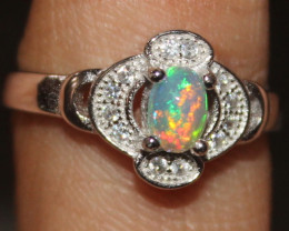 Natural Ethiopian Welo Fire Opal 925 Silver Ring Size (7 US) 308