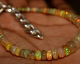 27 Crt Natural Ethiopian Welo Fire Opal Beads Bracelet 187