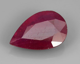 4.10 Cts Gorgeous!Jumbo!Pear Facet Top Blood Red Natural Ruby Madagascar!