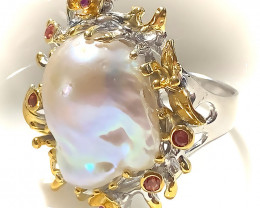 For Hugh 85.00ct Handmade HUGE Baroque Pearl Gem Ring Sterling and Gold