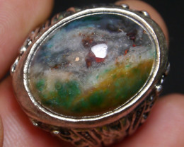 76.80 CT Beautiful Abstract Picture Indonesian Agate Ring Jewelry