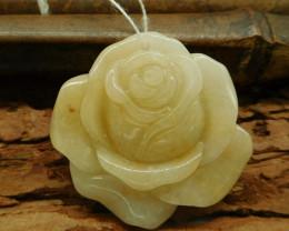 Natural gemstone honey jade carving flower rose pendant for necklace(G0197)