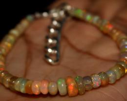 25 Crt Natural Ethiopian Welo Fire Opal Beads Bracelet 189