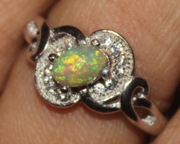 Natural Ethiopian Welo Fire Opal 925 Silver Ring Size (6 US) 304