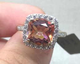 (LBA) $1400  4.12ct Azotic Topaz & Diamond and Sapphire