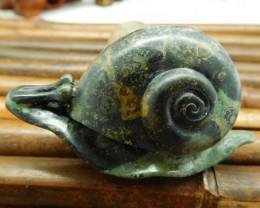 Natural gemstone ocean kambaba carving snail decoration (G0200)