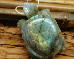 Narural gemstone labradorite carving tortoise pendant sea turtle lover(G020