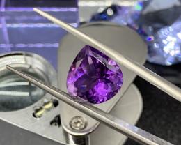 6.28 ct Certified Amethyst Natural  Loose Gemstone Cut Pear Purple