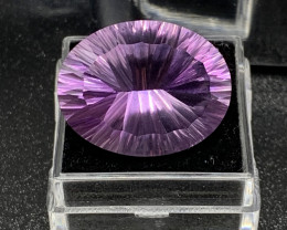 Certified Amethyst Loose Gemstone - 22.93 ct - Cut ConCave - Color Purple