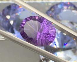 Certified Amethyst Loose Gemstone - 6.51 ct - Cut ConCave - Color Purple