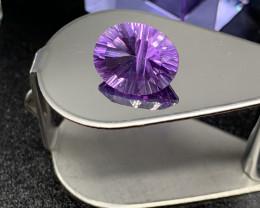 Certified Amethyst Loose Gemstone - 6.21 ct - Cut Concave - Color Purple