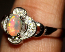 Natural Ethiopian Welo Fire Opal 925 Silver Ring Size (7 US) 327