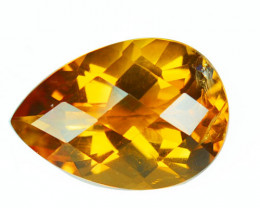 4.30 Cts Natural Golden Orange Citrine Pear Checkerboard Cut Brazil