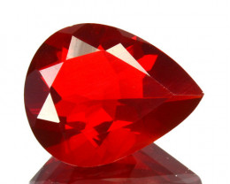 ~FIERY RED~ 1.26 Cts Natural Mexican Fire Opal Pear Cut Beautiful