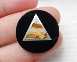 New Arrival Intarsia Cabochon ,Obsidian ,Picture Jasper and Shell Intarsia