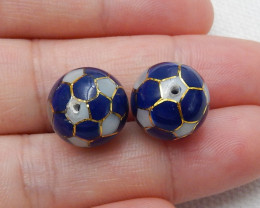 Fashion Natural Lapis ,Shell Intarsia Earring Beads ,Lucky Gemstone C431