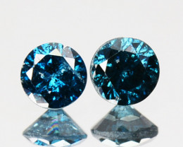 ~PAIR~ 0.13 Cts Natural Electric Blue Diamond Round Africa