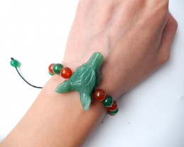 Handcraft Natural Green Aventurine Wolf Head bracelet, 8mm red agate and gr