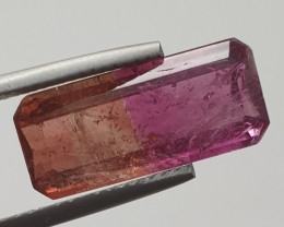 6.79 ct Amazing Bicolor Orange Pink Rare Tourmaline