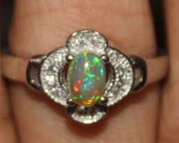 Natural Ethiopian Welo Fire Opal 925 Silver Ring Size (7.5 US) 307