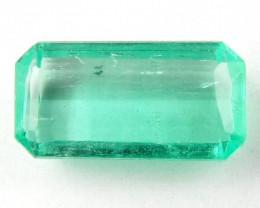 NR Certified 1.50 ct Natural Colombian Muzo Emerald Cut Green Loose Gem