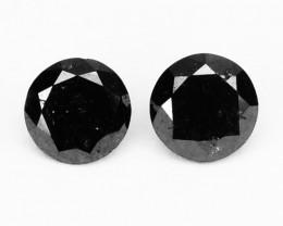 0.32 Cts Natural Coal Black Diamond 2 Pcs Round Africa