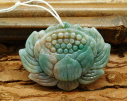 Natural gemstone fancy agate carving flower pendant bead (G0214)