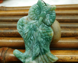 Customized carving moss agate owl pendant animal craft jewelry (G0217)