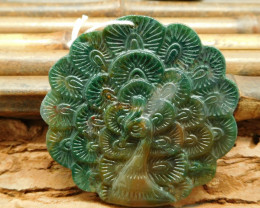 Natural gemstone moss agate carving peacock pendant bead (G0220)