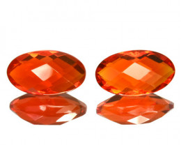~PAIR~ 1.70 Cts Natural Mexican Orange Fire Opal 9x5 mm Oval Cut