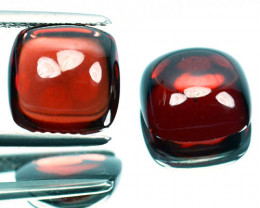 ~PAIR~ 9.68 Cts Natural Deep Red Rhodolite Garnet Cabochon Africa