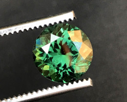 Certified 3.43 Carats Round Cut Bluish Green Color Tourmaline Gemstone  Fro
