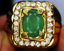 Emerald with handmade ring
