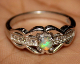 Natural Ethiopian Welo Fire Opal 925 Silver Ring Size (7.5 US) 322