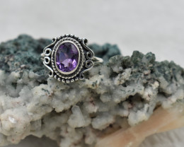 AMETHYST RING 925 STERLING SILVER NATURAL GEMSTONE JE1929