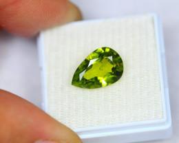 3.78ct Natural Green Peridot Pear Cut Lot P257