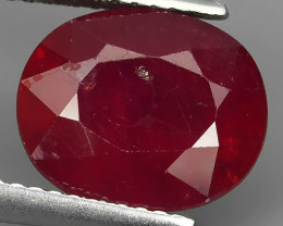 5.70 Ct. Interesting! Big! Oval Facet Top Blood Red Natural Ruby Madagascar