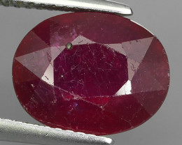 5.65 Ct. Interesting! Big! Oval Facet Top Blood Red Natural Ruby Madagascar
